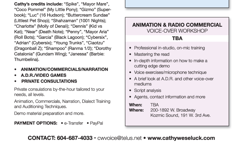 Cathy Weseluck Voice Productions